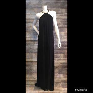NWT Sky Brand L black gold halter maxi dress